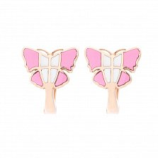 Золотые серьги Мои розовые бабочки в красном цвете с эмалью