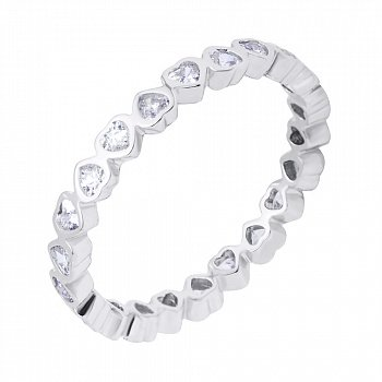 Срібна каблучка з фіанітами 000116365