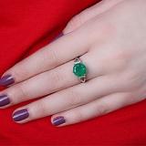 Серебряное кольцо Мелина с зеленым агатом