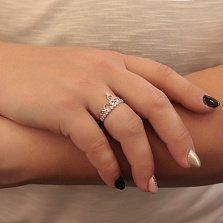 Серебряное кольцо-корона Элизабет с белым цирконием