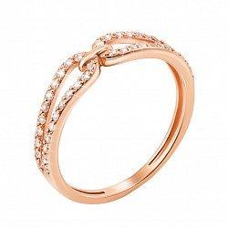 Золотое кольцо Связь в красном цвете с фианитами