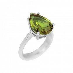 Серебряное кольцо Моник с султанитом огранки груша