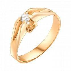 Золотое кольцо в красном цвете с белым цирконием 000071586