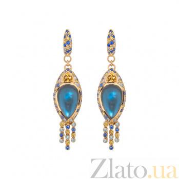 Золотые серьги с топазами и бриллиантами Leda 1С113-0172