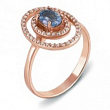 Золотое кольцо с топазом Лазурная звезда