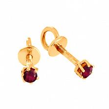 Золотые сережки-пуссеты с рубинами Энрика