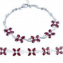 Серебряный браслет Василина с рубинами и фианитами