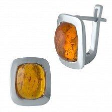 Серебряные серьги Корнелия с завальцованным янтарем