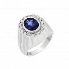 Золотой перстень Морская волна с сапфиром и бриллиантами