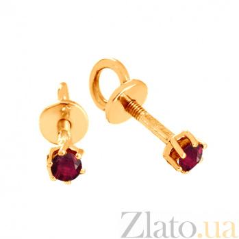 Золотые сережки-пуссеты с рубинами Энрика VLN--123-452-16
