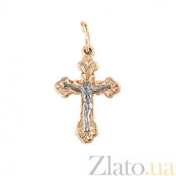 Золотой крестик Небесный покровитель с алмазной насечкой SVA--3000056101/Без вставки