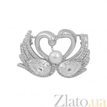 Серебряная брошь Пара лебедей с жемчугом и фианитами 000081983