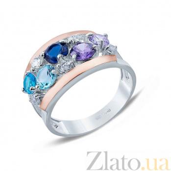 Серебряное кольцо Феерия с золотом и фианитами AQA--Г0094К