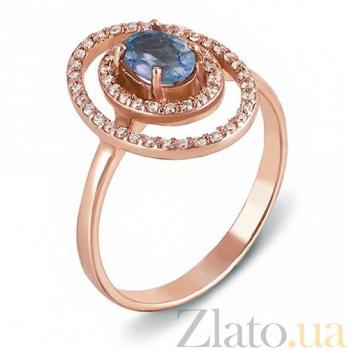 Золотое кольцо с топазом Лазурная звезда 530002