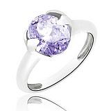 Серебряное кольцо Искушение с голубым цирконием