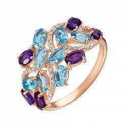 Кольцо из красного золота с топазами, аметистами и цирконием 000136397