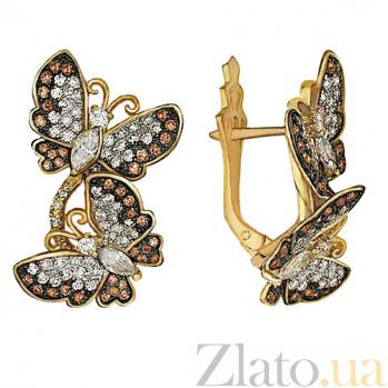 Серьги из желтого золота Весенние бабочки VLT--ТТ227-1