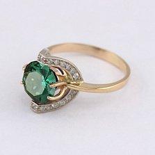 Золотое кольцо Элегия с синтезированным аметистом и фианитами