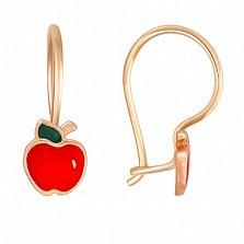 Серьги из красного золота Красное яблоко