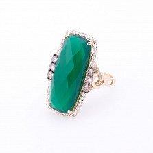 Золотое кольцо Яркая хвоя с зеленым агатом и бриллиантами