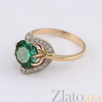 Золотое кольцо Элегия с синтезированным аметистом и фианитами VLN--112-1430-55