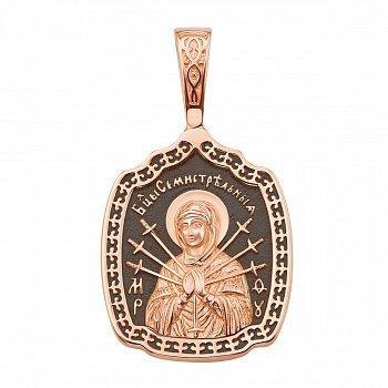 Ладанка из красного золота Божья Матерь Семистрельная с чернением 000134751