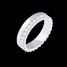 Золотое кольцо Брюссель в белом цвете с дорожкой бриллиантов по краю шинки