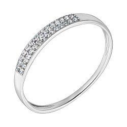 Обручальное кольцо Счастье любимой в белом золоте с фианитами 000008400