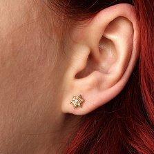 Серьги из желтого золота с бриллиантами Звезды