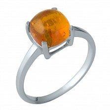 Серебряное кольцо Нэнси с янтарем в четырех крапанах