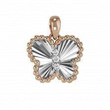 Кулон из красного и белого золота Бабочка с бриллиантами