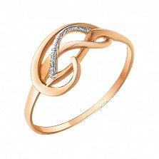 Золотое кольцо Петли судьбы с частично родированной фактурной поверхностью