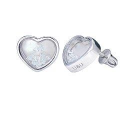 Серебряные серьги-пуссеты Сердце большое с плавающими белыми фианитами, 10x10мм