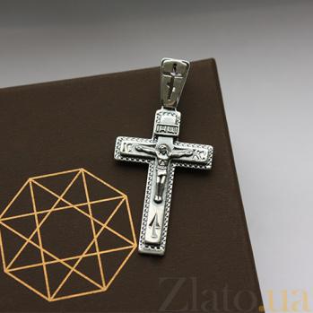 Крестик из серебра Силы Небесные ІНЦІ ІС ХС с чернением HUF--3101-МЧ.ин.ис