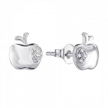 Серебряные серьги-пуссеты Яблоки с фианитами 000140575
