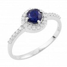 Серебряное кольцо Францина с сапфиром и фианитами