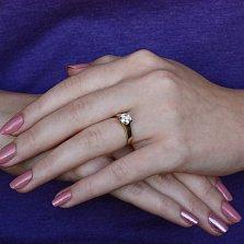 Золотое помолвочное кольцо Олимпик в евро цвете с бриллиантом