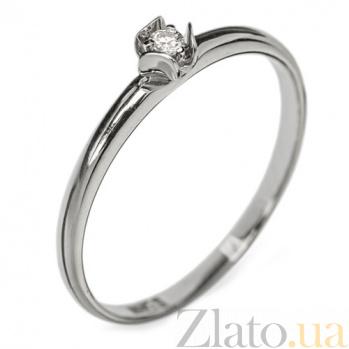 Золотое кольцо в белом цвете с бриллиантом Биргит R 0693б