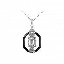 Серебряное колье с черной эмалью и фианитами 000105902