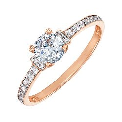 Кольцо из красного золота с фианитами и родированием 000135722