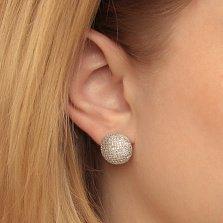 Серебряные серьги-полусферы Иллюзия в усыпке белых фианитов