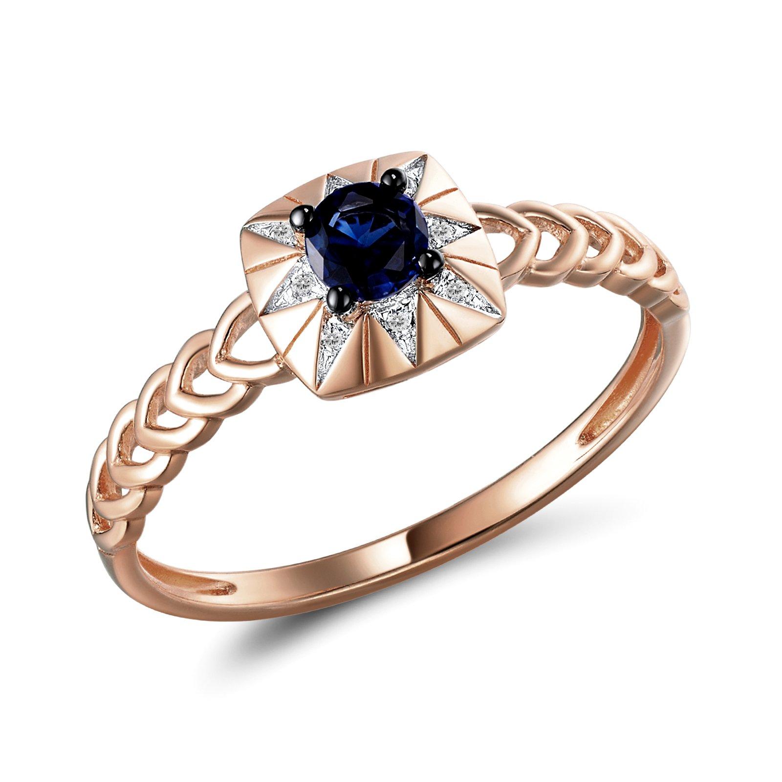 Кольцо из красного золота Фиона с бриллиантами и сапфиром