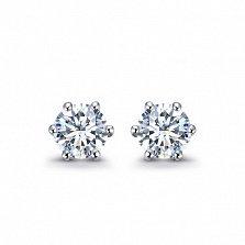 Серьги-пуссеты в белом золоте Sweet Love с бриллиантами, 0,25ct