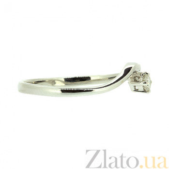 Золотое кольцо в белом цвете с бриллиантом Сонал 000021508