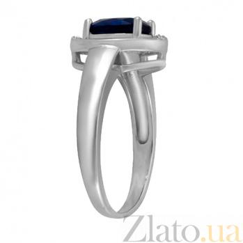 Серебряное кольцо Лайма с синим и белыми фианитами 000028362