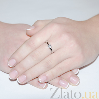 Кольцо из белого золота с бриллиантом Рапсодия любви KBL--К1654/бел/брил