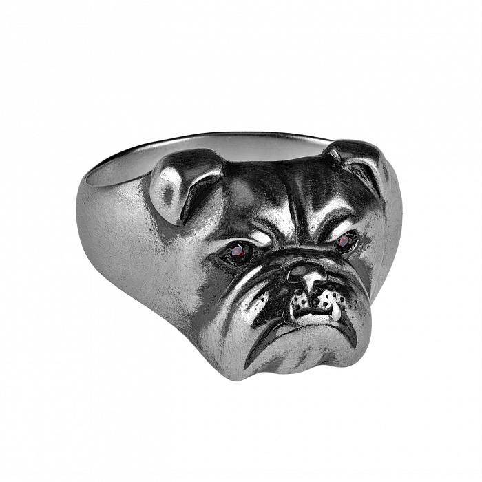 Серебряное кольцо с чернением Добродушный бульдог 000035761