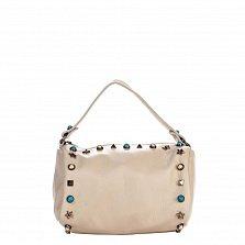 Кожаный клатч Genuine Leather 1519 молочного цвета с короткой ручкой и декоративными элементами