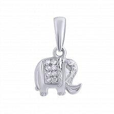 Серебряный подвес с фианитами Слон