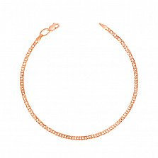 Золотой браслет Мирабель в красном цвете металла, 2мм
